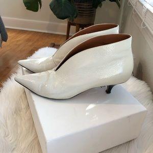 Celine Optic White V Neck Boot Patent Leather